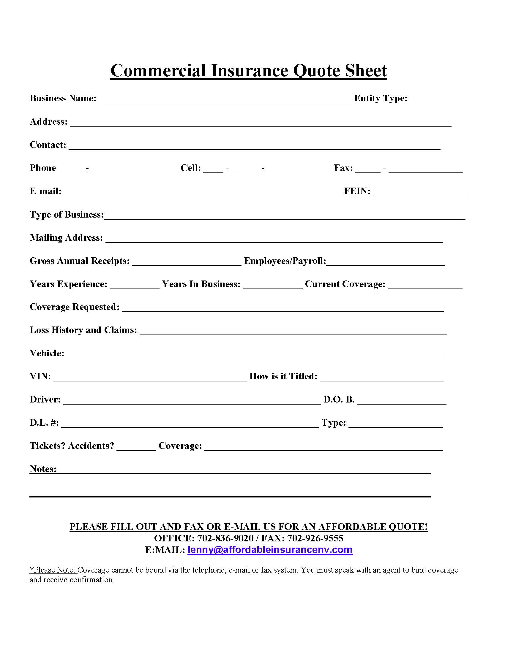 commercial insurance quote sheet Contact Us/Forms Page - AFFORDABLE INSURANCE